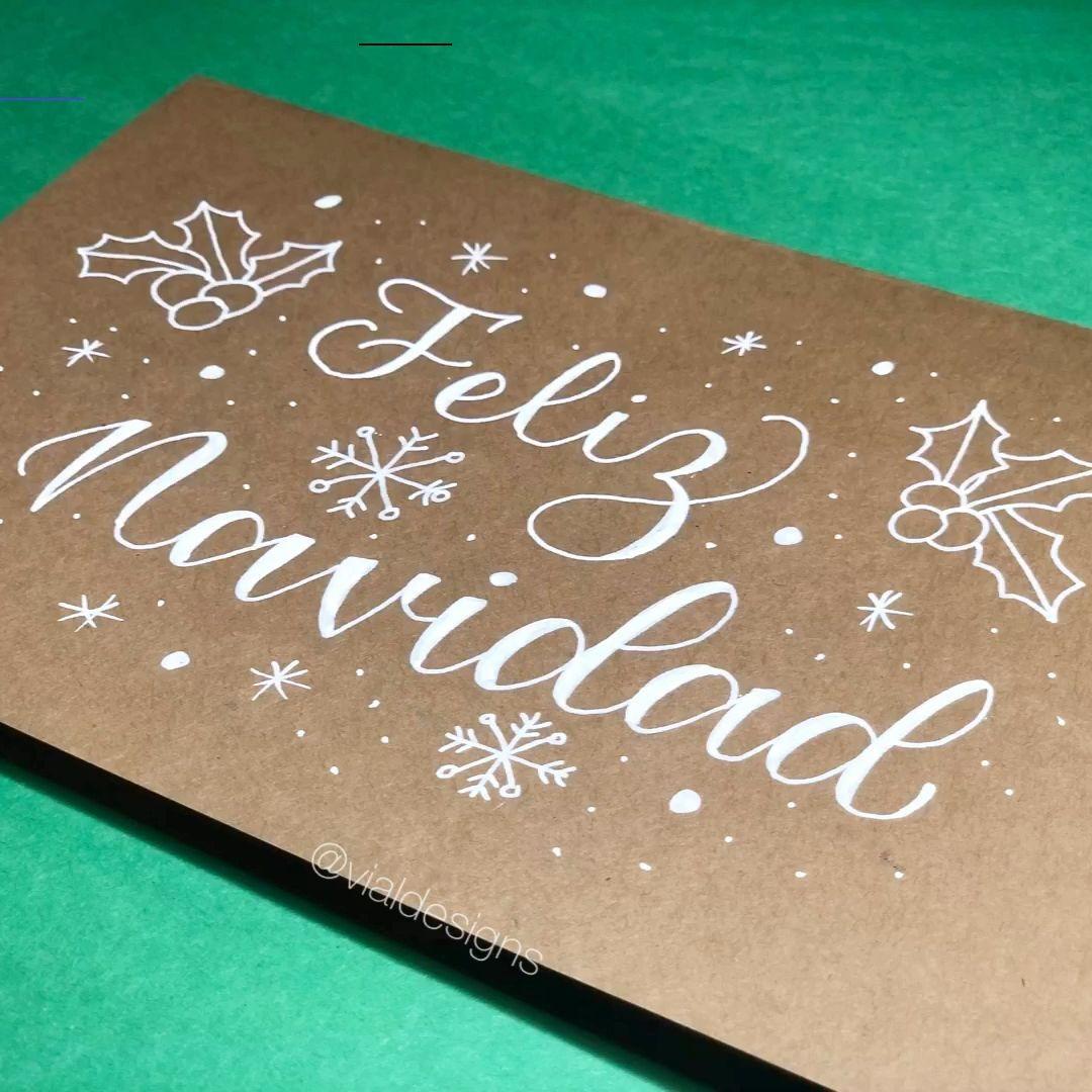 Feliz Navidad Lettering Tutorial Feliznavidad En Este Tutorial De Lettering Te Enseñaré Tres Formas De Escribir Feliz Navidad Asi Juldekorationer Julkort