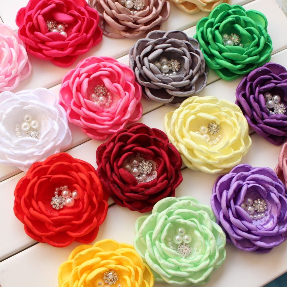 Girl's Hair Accessories Apparel Accessories 2017 Hair Flowers Girls Kids Women Hair Accessories Burned Singed Hair Flower Satin Fabric Flowers 30pcs