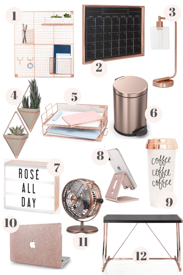 Rose Gold Office Decor From Amazon In 2020 Room Decor Bedroom Rose Gold Gold Office Decor Gold Room Decor