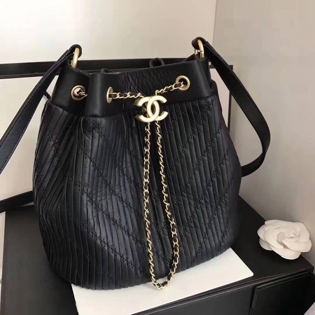 d8eb061dd20 Chanel Coco Pleats Calfskin Drawstring Bag A91759 Black 2018 ...
