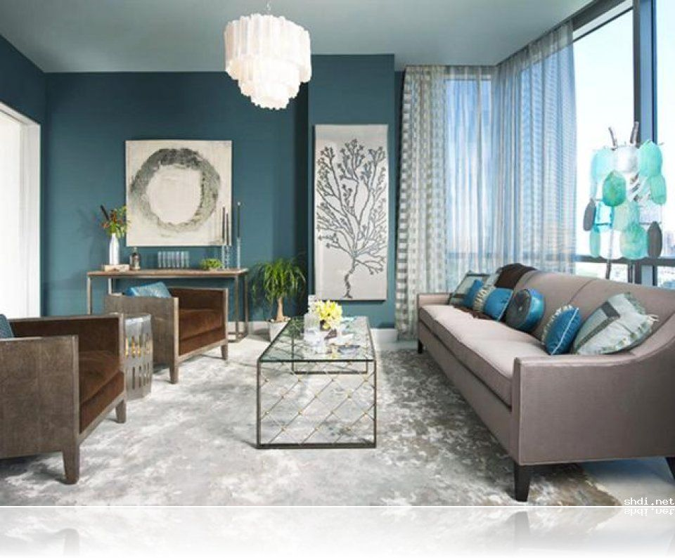 Turquoise Living Room With
