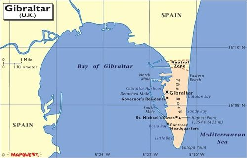 Map Of Spain Near Gibraltar.A Map Of Gibraltar And Spain Map Of Gibraltar Morocco Map