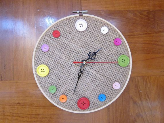 Pin By Little Rose Creations Etsy C On S Is For Sewing Projects Diy Clock Diy Clock Wall Embroidery Hoop Wall Art