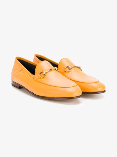 2904720e480 Shop Gucci Orange Brixton leather loafers at Browns. Gucci  Brixton  Loafers  with Horsebit Detailing