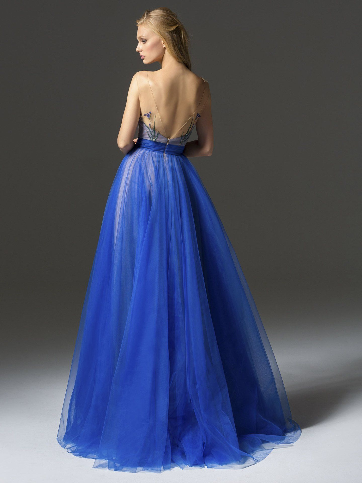Papilio Long evening gown with tulle skirt and illusion neckline ...