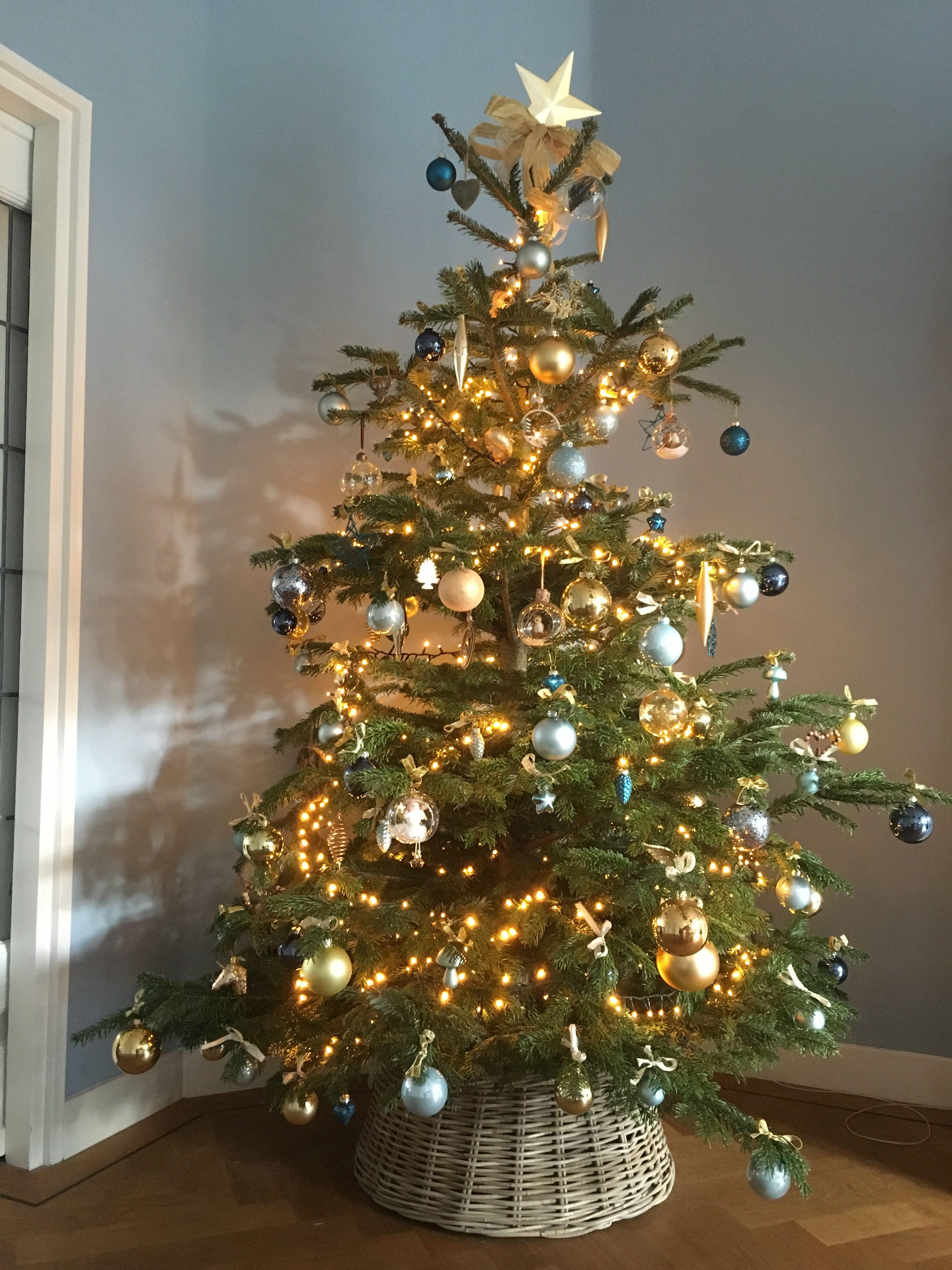 Kerstboom Blauw Goud Kerstboom Blauw Goud Kerstversiering