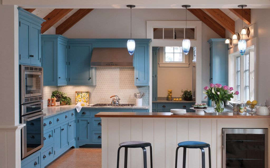 The Blue Color Palette Reflects The Scandinavian Heritage Of The Homeowner And Adds An Uplifting Ocean Blue Kitchen Designs Blue Kitchen Cabinets Kitchen Style