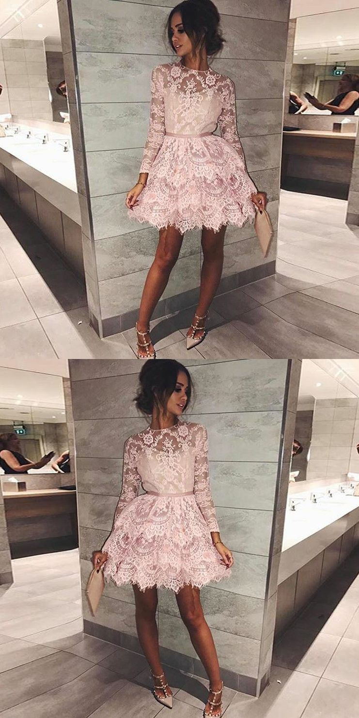Aline round neck long sleeves short tiered pink lace homecoming