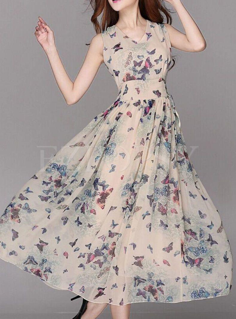 8f1bb518541 Summer Chiffon Floral Print A-Line Maxi Dress in 2019