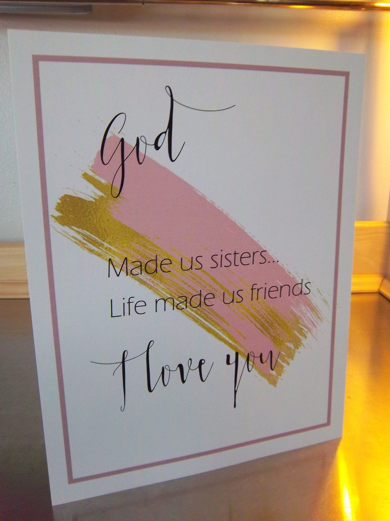 Sister Gift Art Print Unframed Pink Gold Wall Decor Birthday Last Minute