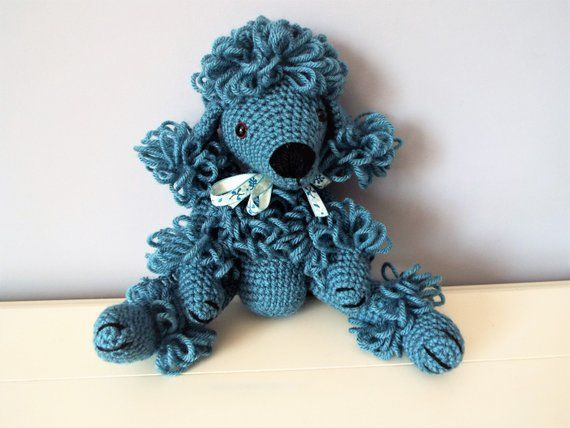 Blue poodle puppy Crochet poodle Amigurumi puppy dog Home decor Kids Boys Girls Baby shower Gift idea Crochet animals Dolls Knitted dog A lot of womens interest in knitti...