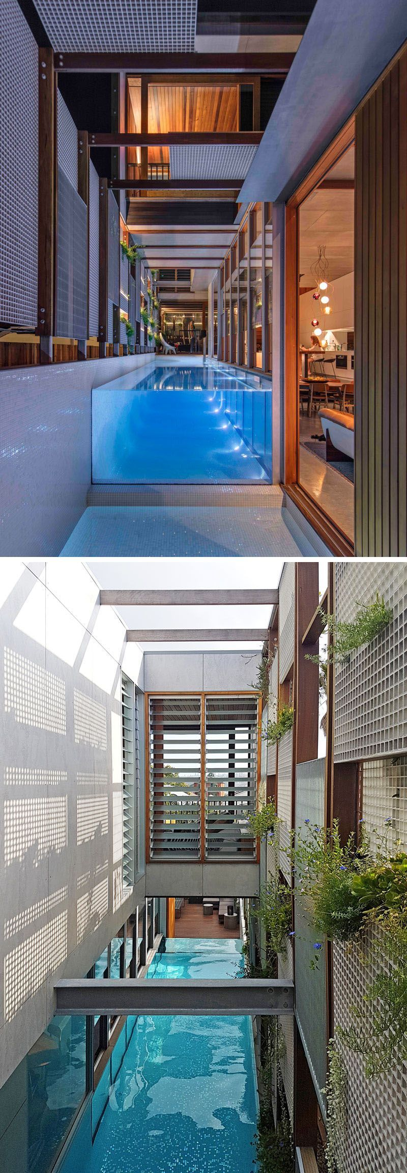 Off To The Side Of The Living Room In This Modern House Is A Small Pond At The End Of The Above Ground Swimming Modern Pools Pool Houses Swimming Pool Designs