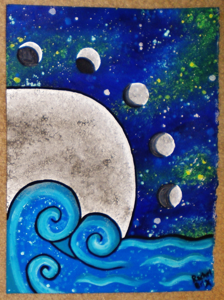 #WaterElement #Moon Painting Original Moon phases Moon Ocean #RachelZombiesArt #AcrylicPainting #OOAKart #MoonPhases #Moon #Water #Ocean #Galaxy