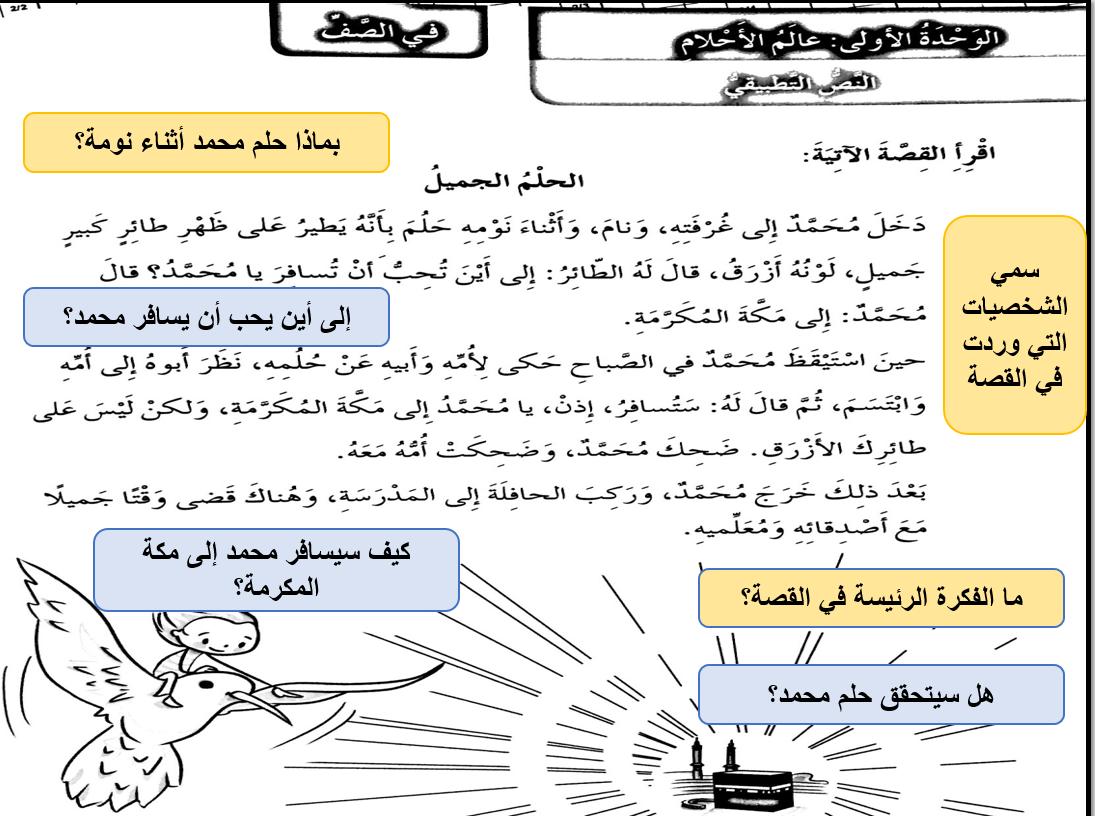 بوربوينت قصة الحلم الجميل مع الاجابات للصف الثالث مادة اللغة العربية