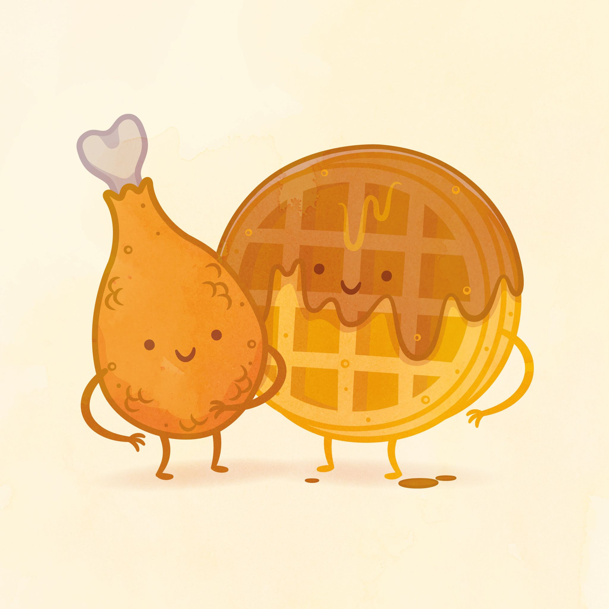 Chicken And Waffle By Philip Tseng In 2019 Things Food Cartoon
