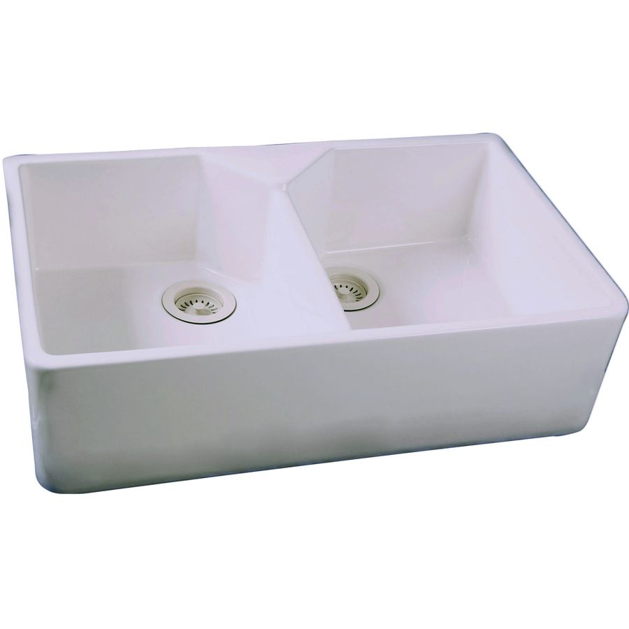 Barclay 19 5 In X 31 5 In White Double Basin Fireclay Apron Front Farmhouse Residential Kitchen Sink Apron Front Kitchen Sink