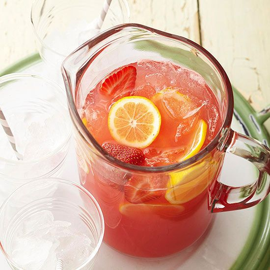 Make over old-fashioned lemonade using fresh fruit and sparkling water: http://www.bhg.com/recipes/drinks/fruit/lemonade-recipes/?socsrc=bhgpin050614watermelonandstrawberrylemonade&page=3
