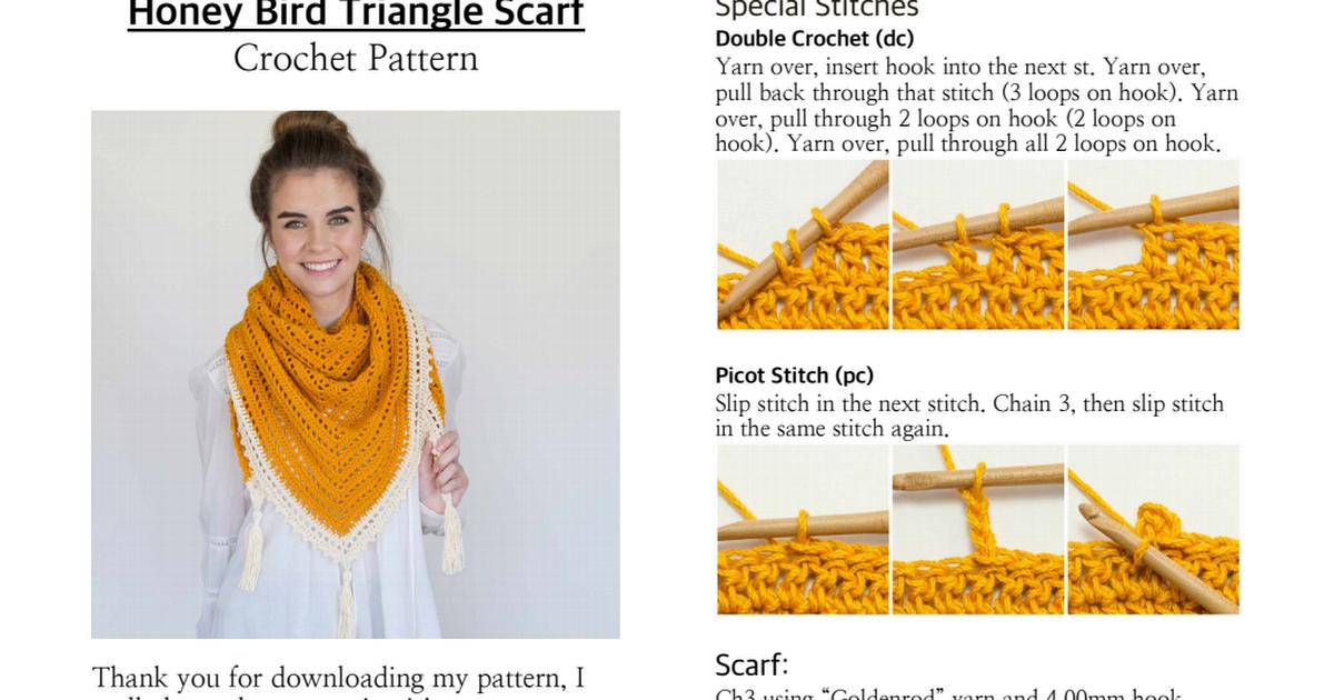 Honey Bird Triangle Scarf:Shawl Crochet Pattern.pdf   Crochet ...