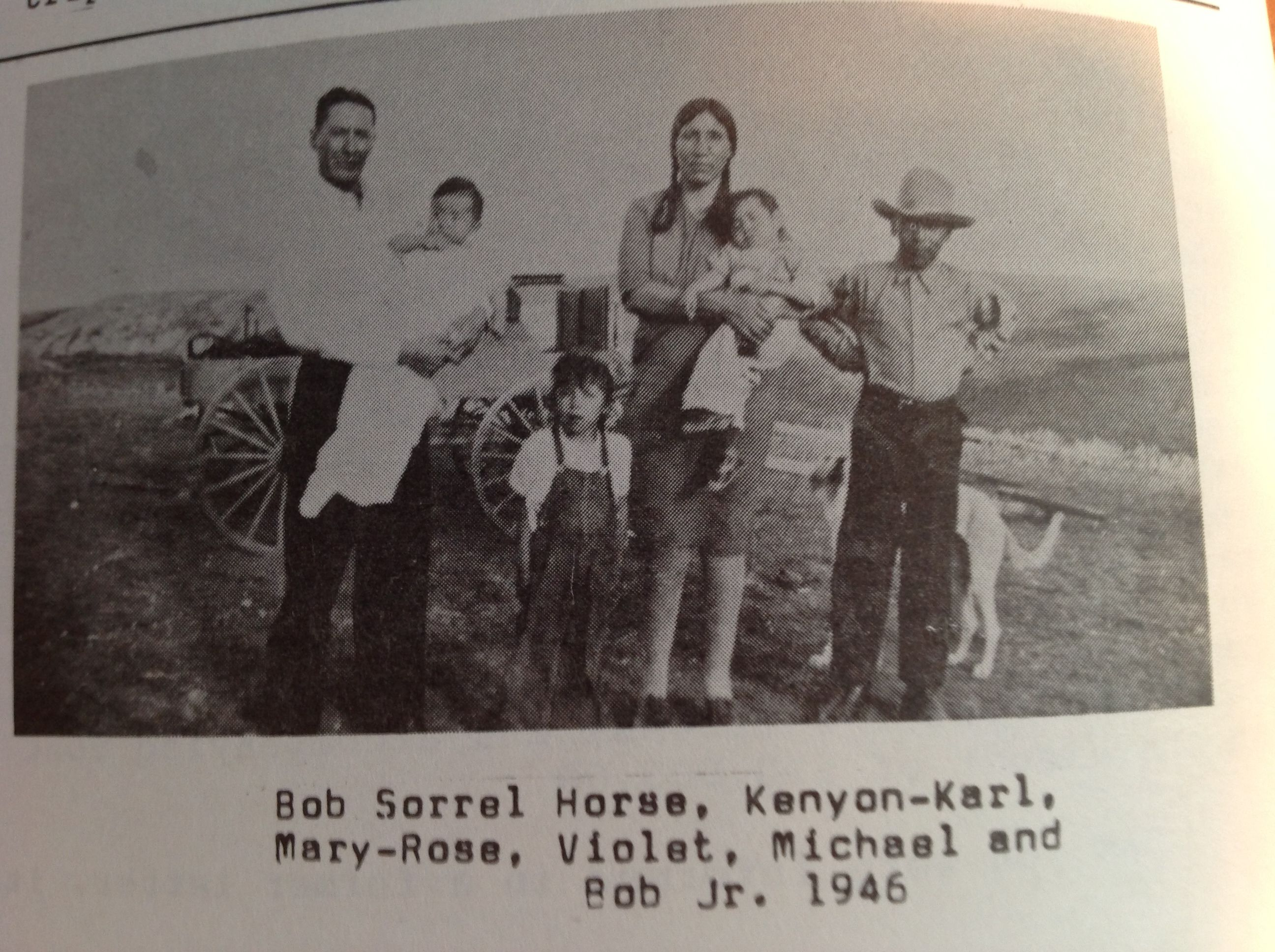 Bob, son of Big Sorrel Horse,  Violet, daughter of Little Dog. This was in 1932 and I continued corresponding with Violet into the late 1950's.  In 1957 she sent me moccasins that had been used in the sacred,Horn Society. They usually trade at the Sun Lodge Ceremony and are for good luck. JKR