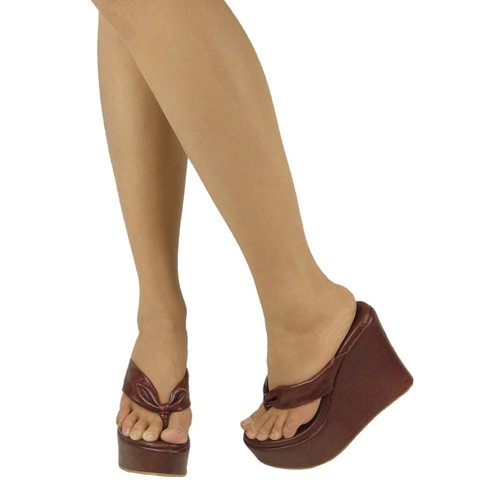 Sandals shoes comfortable - Generation Y Women S Platform Comfort Wedge Thong Sandals Brown Us Sizes 4 10