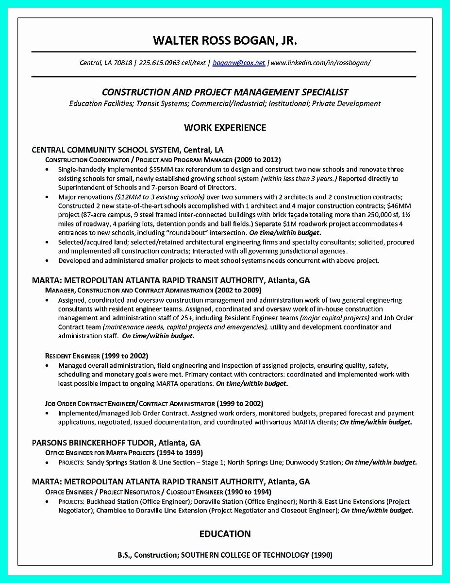 Construction Project Manager Resume Elegant Cool