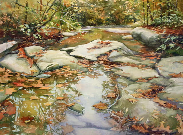 Really nice loose leaves and rocks - (Bear Creek Fall III, watercolor by Sharon Zimmerman)