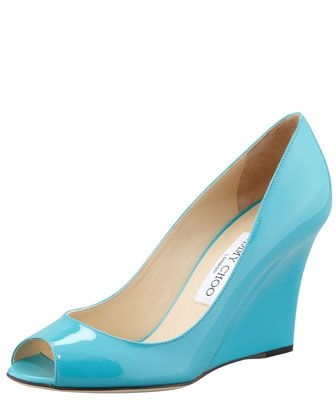 Turquoise Patent peep toe high wedge heel court shoes 4gQ5Rv