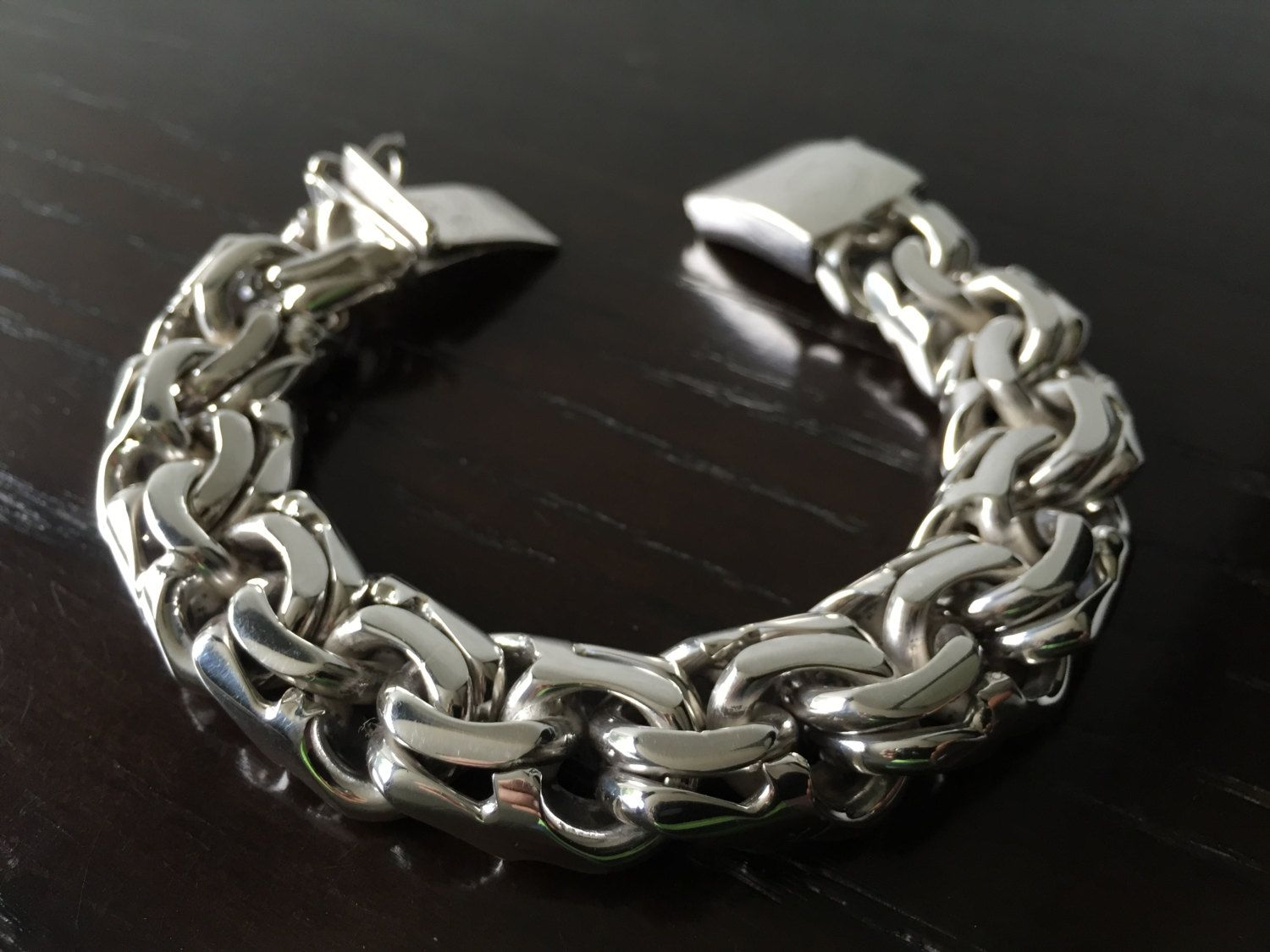 Mens 925 Sterling Silver Thick And Heavy Chain Link Bracelet Chinese Model Handmade De Artesanosmex En Etsy