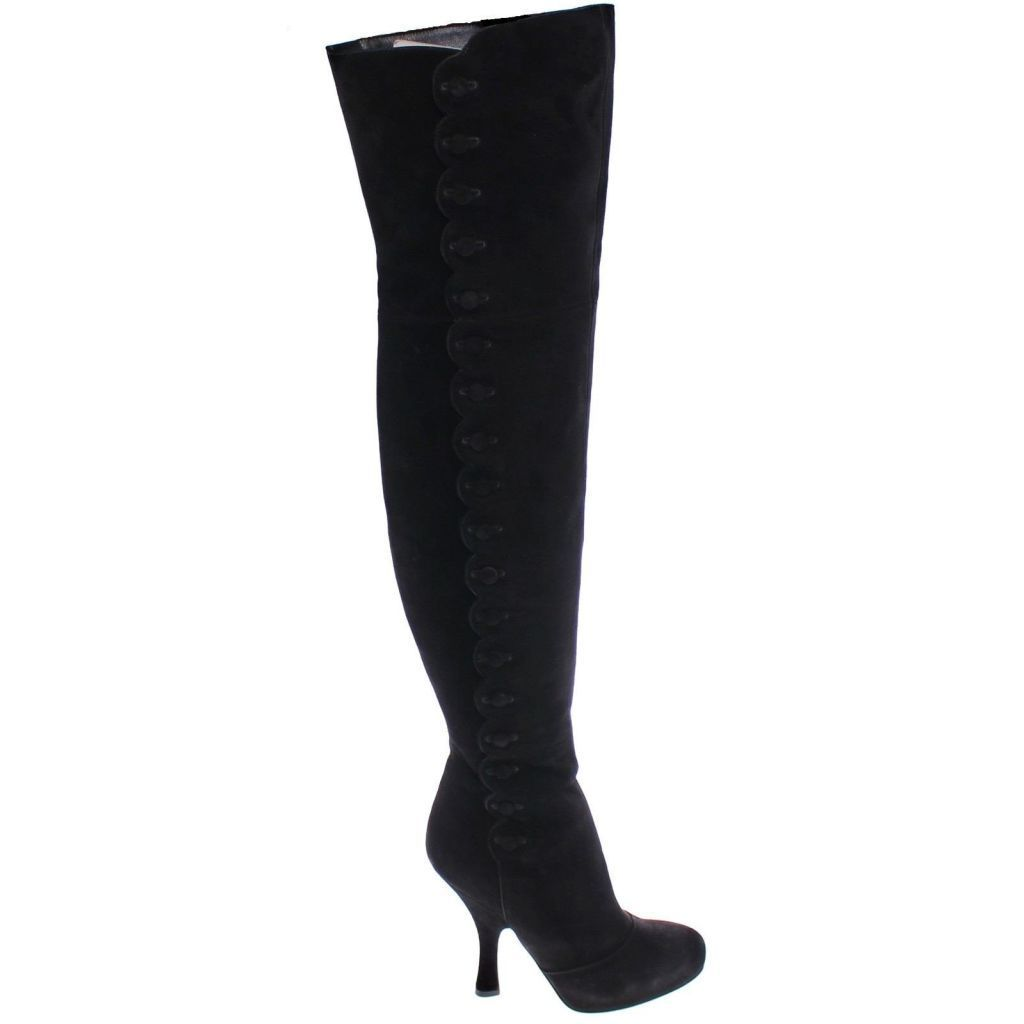 ce22456205 Dolce   Gabbana Black Suede Leather Over Knee Boots