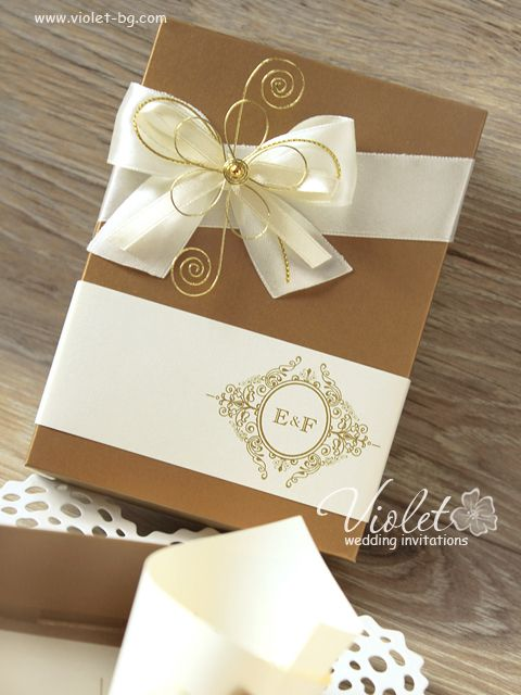 Monogrammed Box Invitation, Gold Ivory Boxed Wedding Invitation By Violet