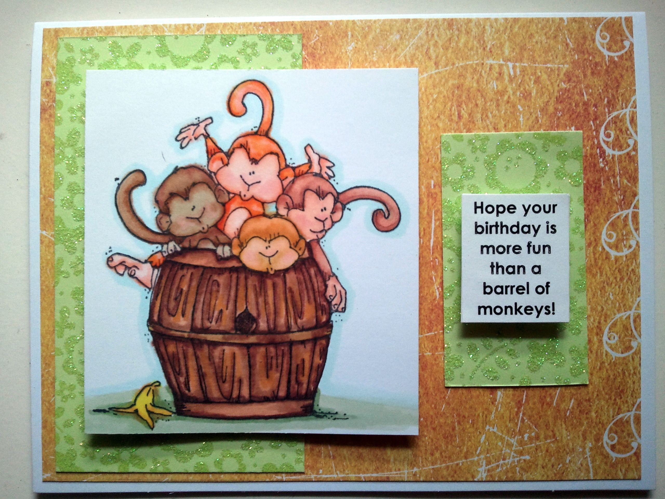 Barrel Of Monkeys Birthday Card Coloured With Copics Draw With