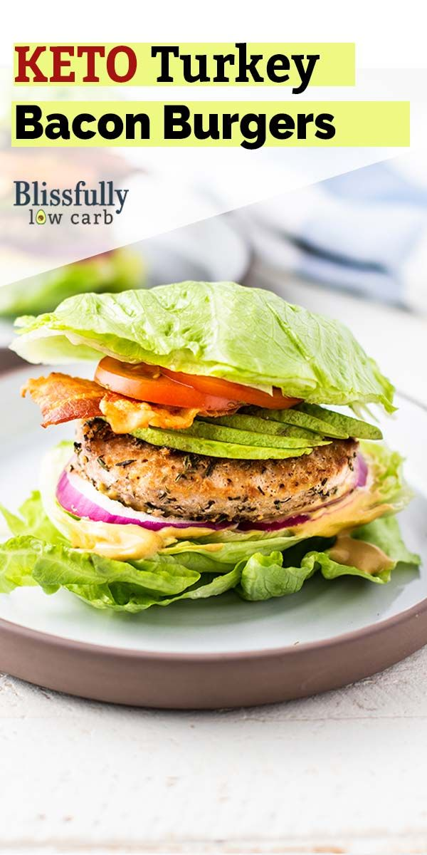 Lettuce Wrap Burger -  Keto Lettuce Wrapped Burgers / A delicious turkey burger with bacon and avoc