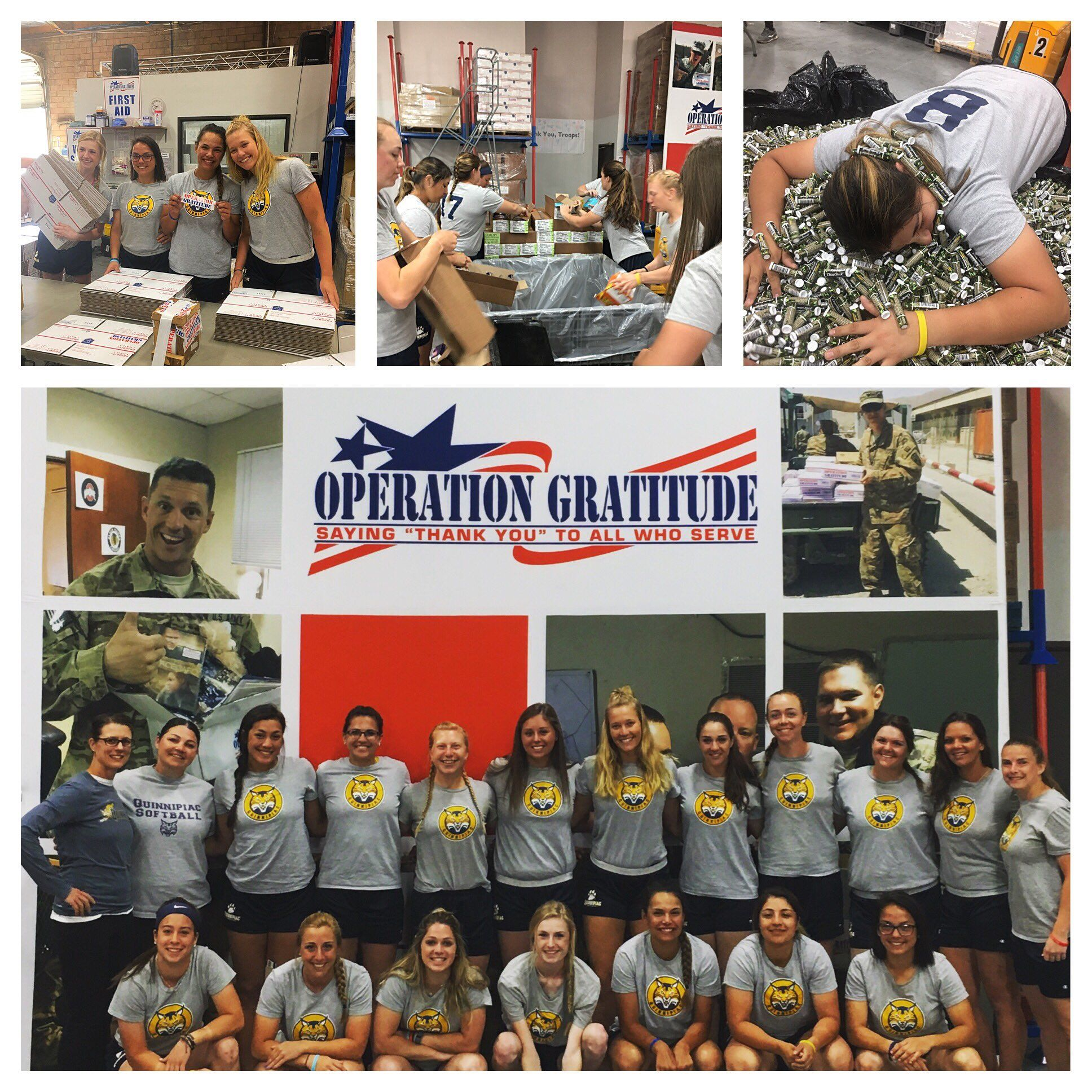 "QUINNIPIAC SOFTBALL: ""#OperationGratitude success! Giving back @OpGratitude having an #attitudeofgratitude thanking all those that serve today."""