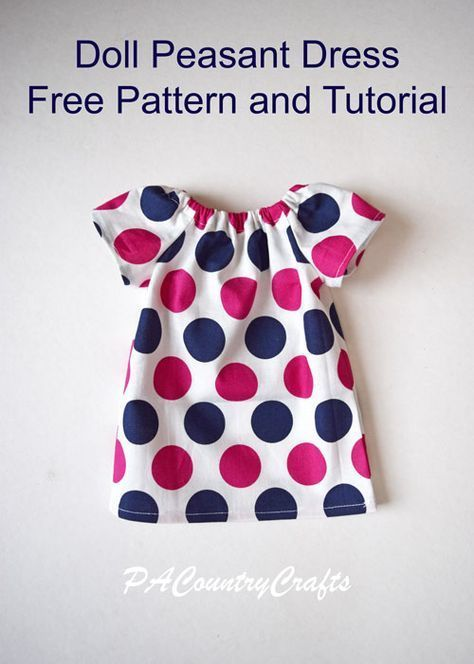 Doll Peasant Dress Pattern and Tutorial #18inchdollsandclothes