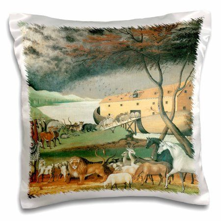 3dRose Noahs Ark Vintage- Religion- Animals, Pillow Case, 16 by 16-inch