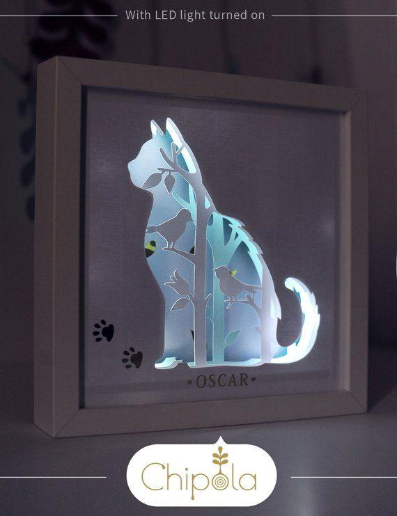 Cat art, cat decor, for cat lovers, personalized pet art, custom pet name, paper art, papercraft, 3d paper with LED light, shadow box, pet