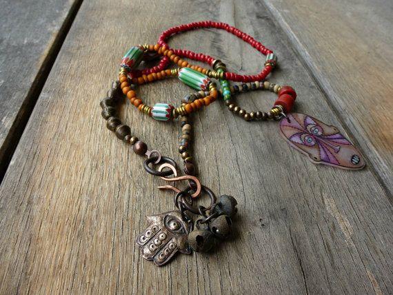 Gypsy, hippie, Boho necklace, Bohemian, Rustic layering necklace, , beaded necklace, Trade bead necklace, Hamsa, Bell necklace.