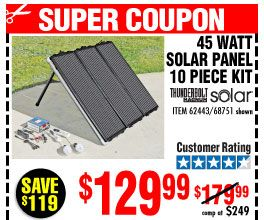 45 Watt Solar Panel Kit 10 Pc Kit Solar Panel Kits Harbor Freight Tools Harbor Freight Coupon