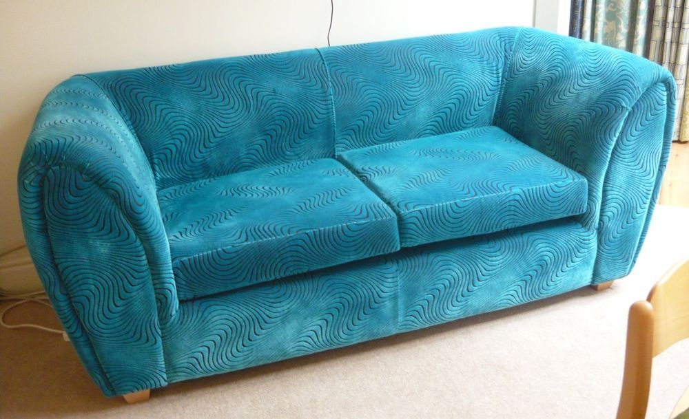 Stylish Turquoise Blue Velvet Sofa - immaculate condition - photography piece
