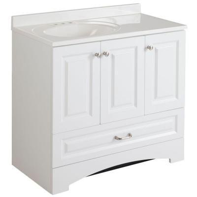 home depot white bathroom vanity. Glacier Bay Lancaster 36 5 in  W x 19 D Bath Vanity and Top White