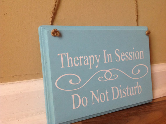 therapy in session do not disturb two sided reversible door hanger