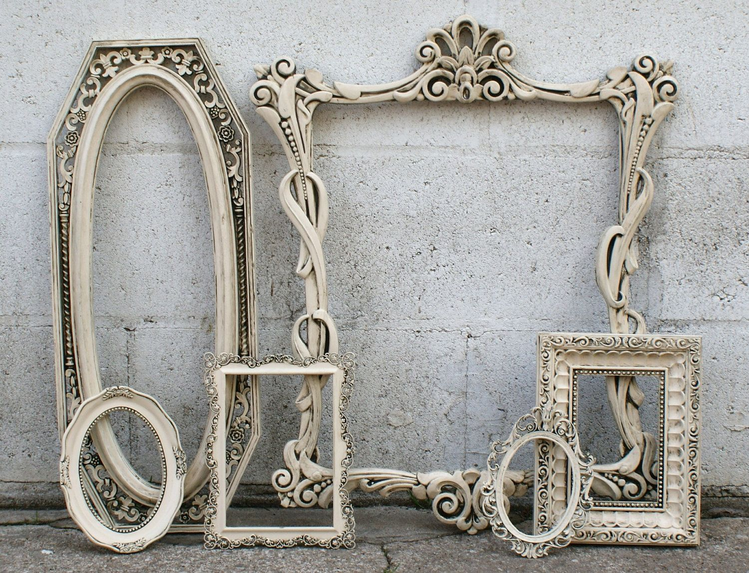 shabby chic picture frames french romantic ivory by. Black Bedroom Furniture Sets. Home Design Ideas
