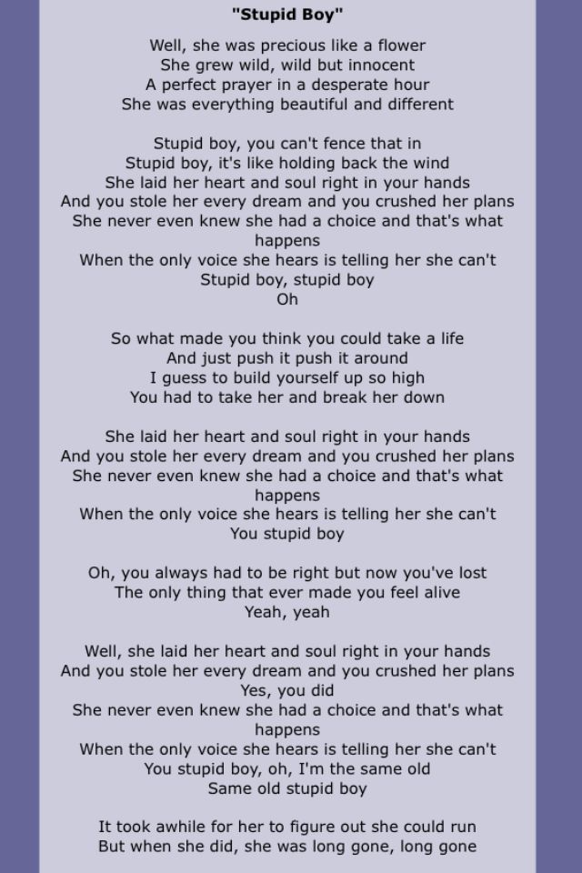 Keith Urban - Stupid Boy. Wendy says whenever she hears this song ...