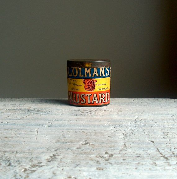Tiny Colmans Mustard Tin Small Vintage Powder Tin English Union Jack Storage Container 1930s 1940s Vintage Tins Tin Colman S