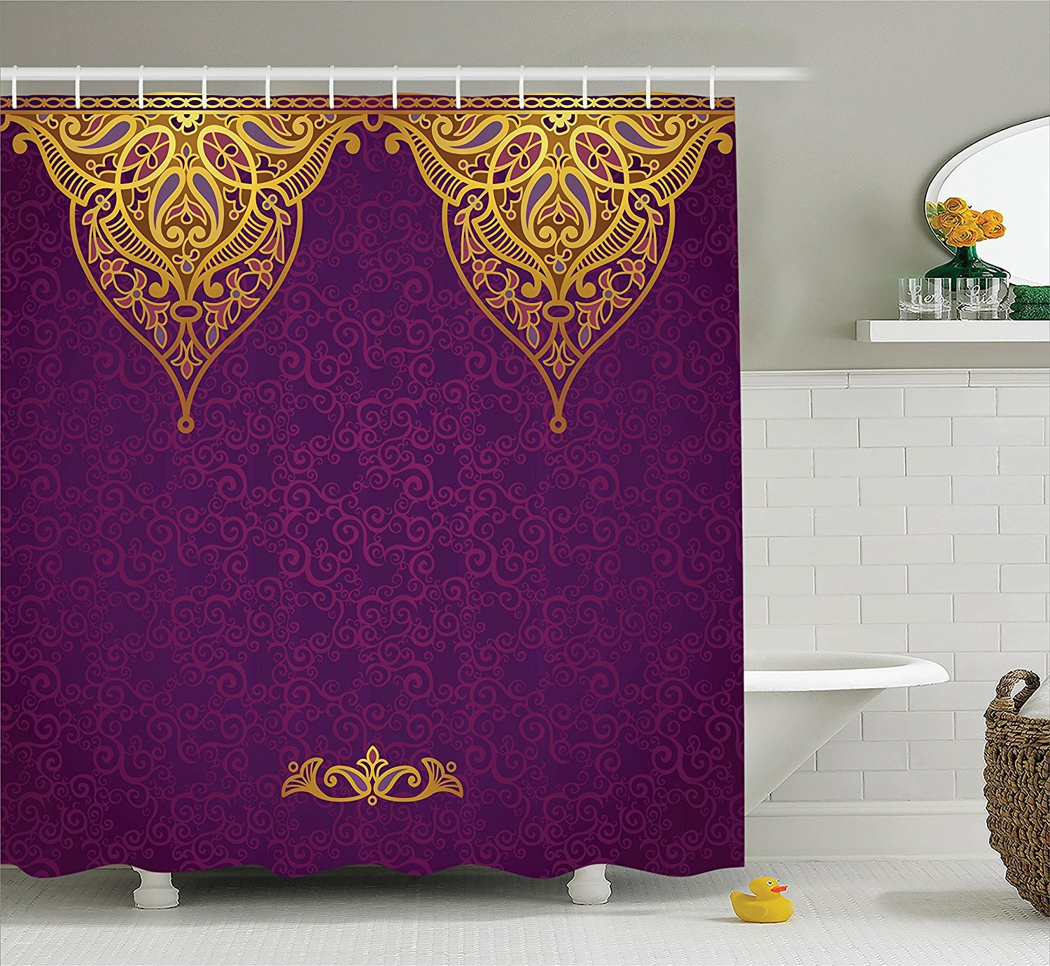Boho Royal Palace Purple Gold Shower Curtain Design Styles