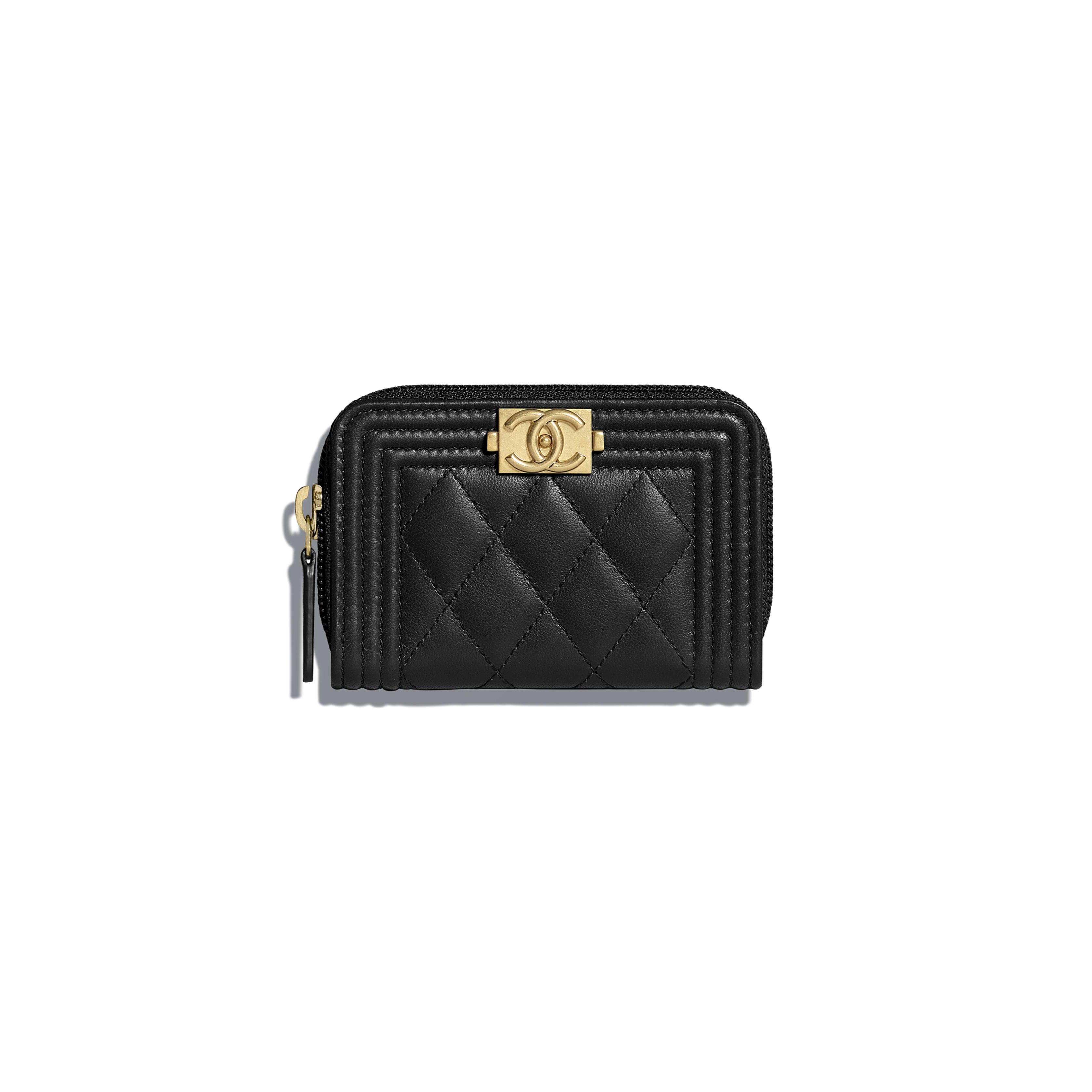 e45bbe282d Lambskin & Gold-Tone Metal Black BOY CHANEL Zipped Coin Purse in ...