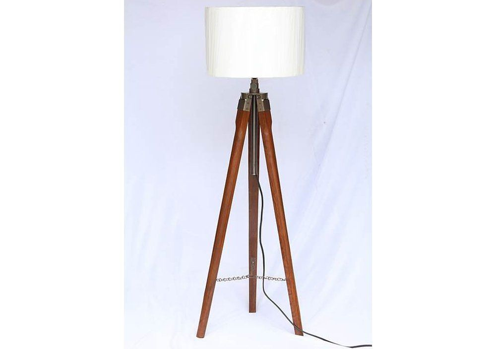 Roorkee Instruments India Wooden Tripod Floor Lamp Stand With Shade And Bulb Off White In 2020 Wooden Tripod Floor Lamp Floor Standing Lamps Floor Lamp