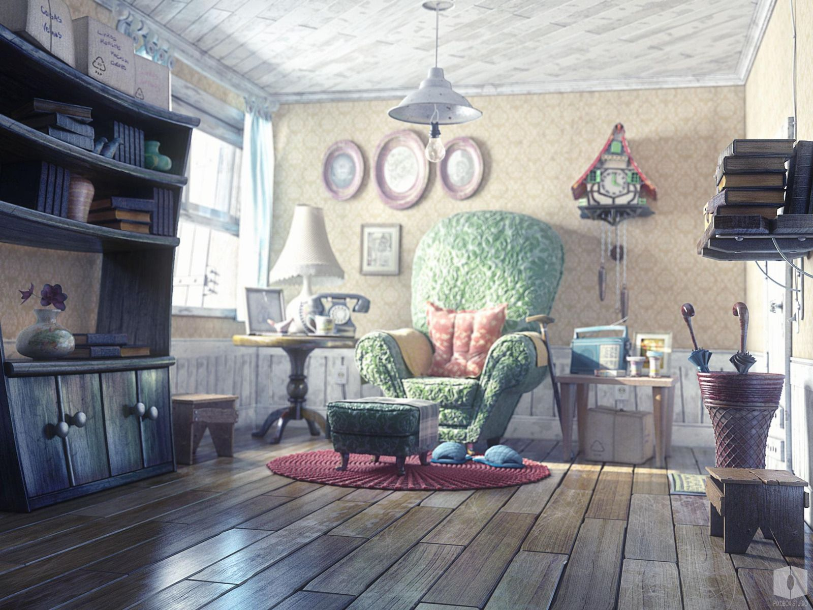 Old man house s picture 3d cartoon light house 3d room interior