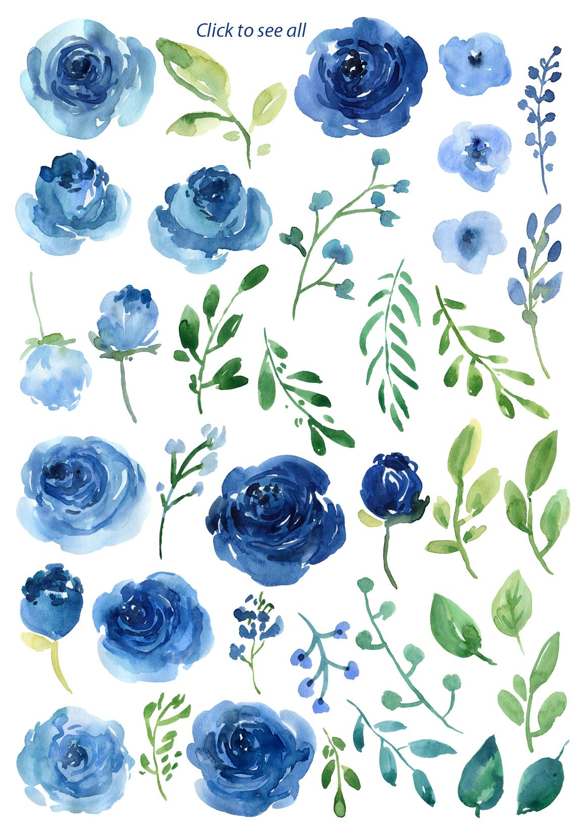 Blue Watercolor Roses Flowers Leaves Watercolor Rose Watercolor