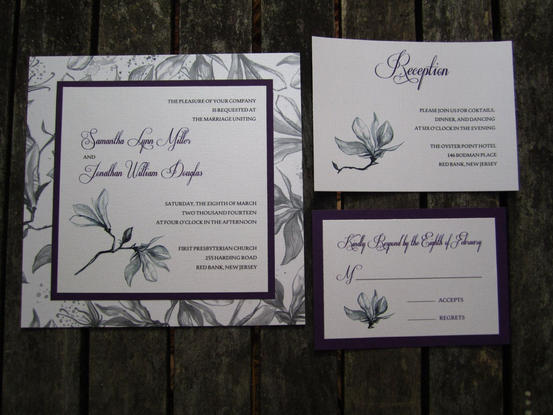 Wedding Invitation Purple Grey Silver By Thingsandstuffevents